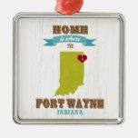 Mapa de fuerte Wayne, Indiana - casero está donde Adorno De Navidad