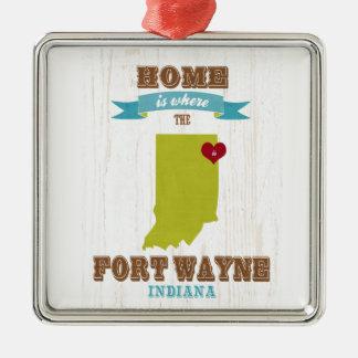 Mapa de fuerte Wayne, Indiana - casero está donde Adorno Cuadrado Plateado
