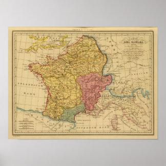 Mapa de Galia Póster