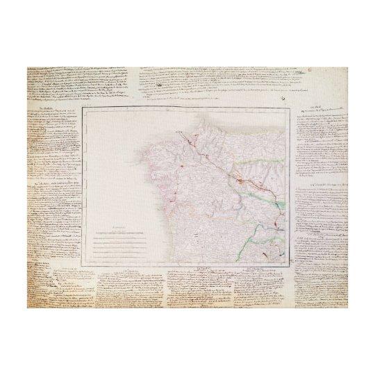 Mapa de Galicia con la ruta del ejército francés Impresión En Lienzo