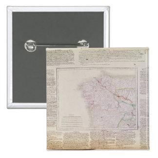 Mapa de Galicia con la ruta del ejército francés Pin Cuadrada 5 Cm