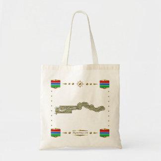 Mapa de Gambia + Bolso de las banderas Bolsa Tela Barata