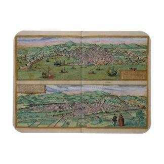 Mapa de Génova y de Florencia, de 'Civitates Orbis Imán Rectangular
