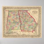 Mapa de Georgia, Alabama de Mitchell Póster