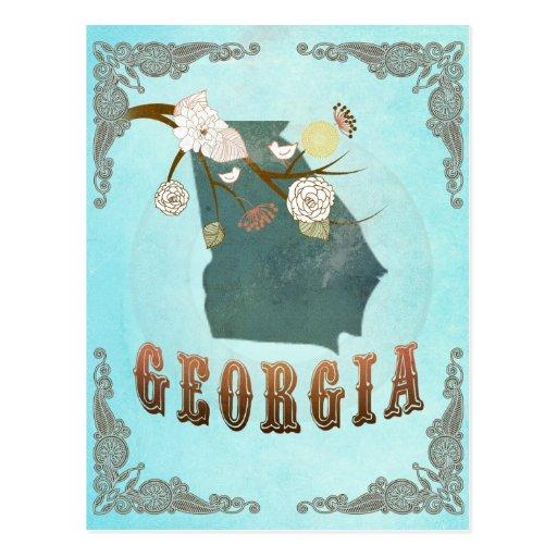 Mapa de Georgia con los pájaros preciosos Postal