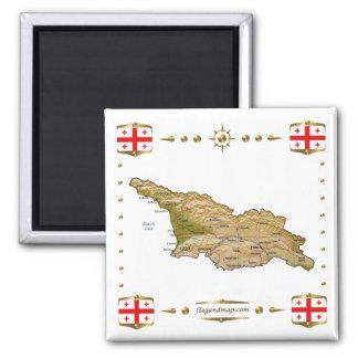 Mapa de Georgia + Imán de las banderas
