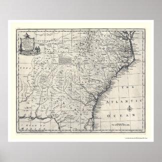 Mapa de Georgia y de Carolinas de Bowen 1752 Póster