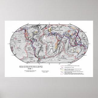 Mapa de Gobal de la tectónica de placas de la lito Poster