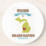 mapa de Grand Rapids, Michigan - casero es donde Posavasos Personalizados