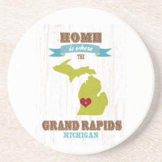 mapa de Grand Rapids, Michigan - casero es donde Posavasos Manualidades
