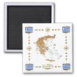 Mapa de Grecia + Imán de las banderas