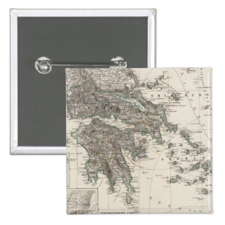 Mapa de Grecia por Stieler Pin Cuadrado