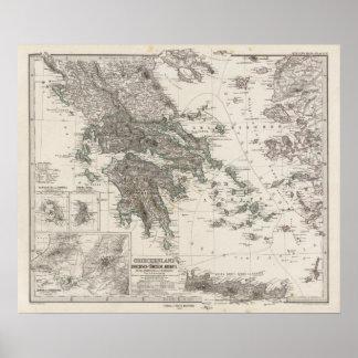 Mapa de Grecia por Stieler Póster