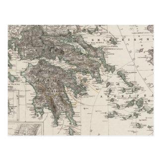 Mapa de Grecia por Stieler Postal