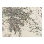 Mapa de Grecia por Stieler Tarjetas Postales