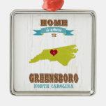 Mapa de Greensboro, Carolina del Norte - casero es Ornamento Para Arbol De Navidad