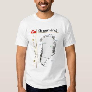 Mapa de Groenlandia + Bandera + Camiseta del Playeras