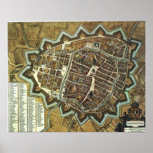 Mapa de Groninga 1652 Póster