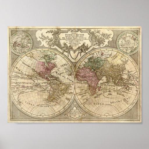 Mapa de Guillaume de L'Isle 1690 del mundo Póster