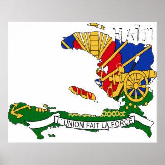 Mapa de Haïti Chérie Posters
