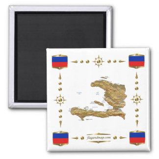 Mapa de Haití + Imán de las banderas