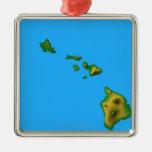 Mapa de Hawaii Adorno Navideño Cuadrado De Metal