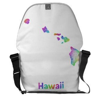 Mapa de Hawaii del arco iris Bolsas De Mensajería