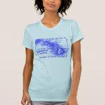 Mapa de Hawaii del vintage, azul Camisetas