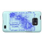 Mapa de Hawaii del vintage, azul Samsung Galaxy SII Fundas