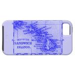 Mapa de Hawaii del vintage, azul iPhone 5 Case-Mate Funda