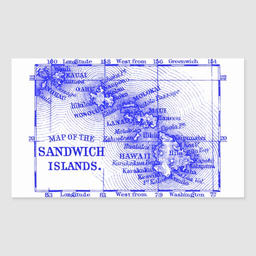 Mapa de Hawaii del vintage, azul Rectangular Altavoz