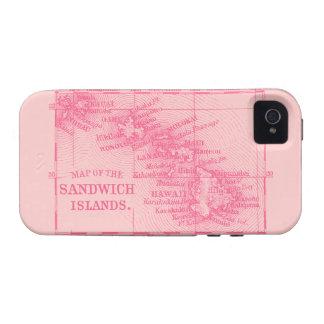 Mapa de Hawaii del vintage, rosado Case-Mate iPhone 4 Carcasas