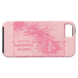 Mapa de Hawaii del vintage, rosado iPhone 5 Carcasa