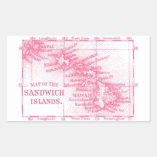 Mapa de Hawaii del vintage, rosado Pegatina Rectangular