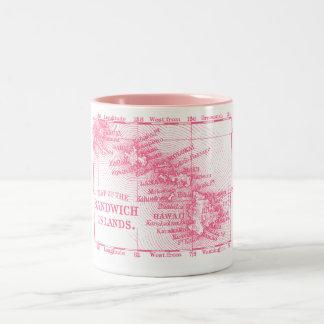 Mapa de Hawaii del vintage, rosado Taza Dos Tonos