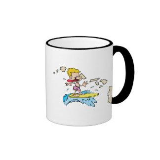 Mapa de Hawaii HI y lema hawaiano del dibujo anima Tazas De Café