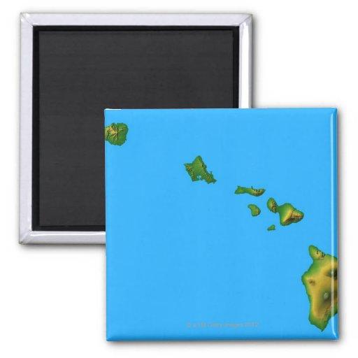 Mapa de Hawaii Imán Cuadrado