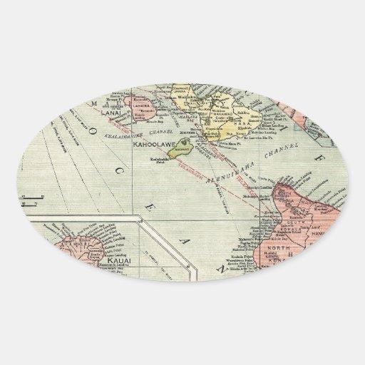 Mapa de Hawaii - rand McNally (1912) Calcomanías Óvales Personalizadas