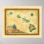 Mapa de Hawaii, tamaños 1 Póster