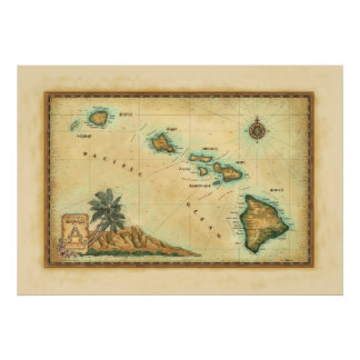 Mapa de Hawaii, tamaños 2 Póster