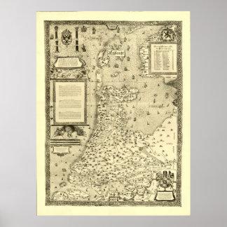 Mapa de Holanda 1558 - Jacob van Deventer Posters