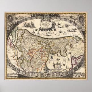 Mapa de Holanda 1630 - anónima Posters