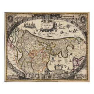 Mapa de Holanda 1630 - Frederick de Wit Posters