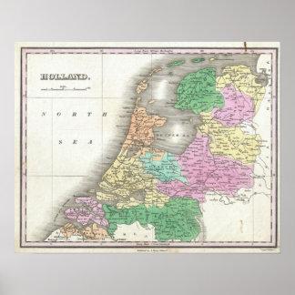 Mapa de Holanda 1727 - por Anthony Finley Póster