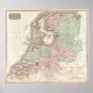 Mapa de Holanda 1818 - Juan Pinkerton Poster