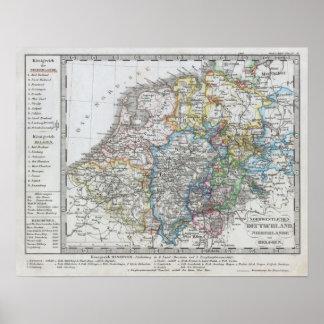 Mapa de Holanda 1862 - por Justus Perthes Posters