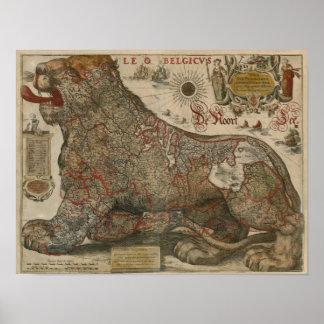 Mapa de Holanda y de Bélgica - 1630 Poster