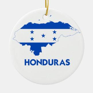 MAPA DE HONDURAS ADORNO NAVIDEÑO REDONDO DE CERÁMICA