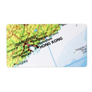 Mapa de Hong Kong Etiqueta De Envío