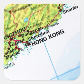 Mapa de Hong Kong Pegatina Cuadrada